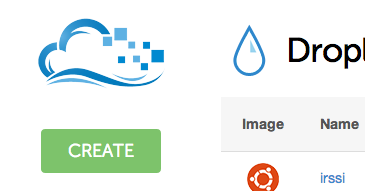 DigitalOcean create droplet button