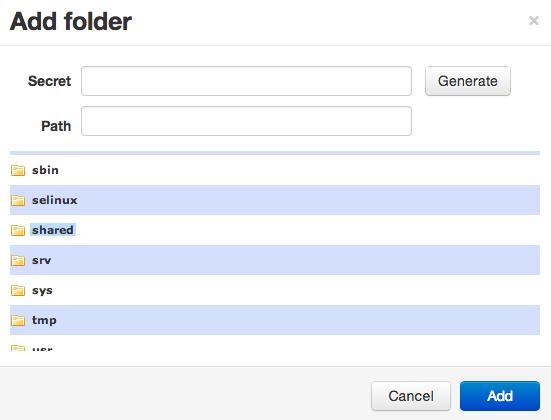 BitTorrent Sync add folder
