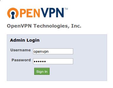 OpenVPN access admin login