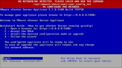 no networking detected vcenter server