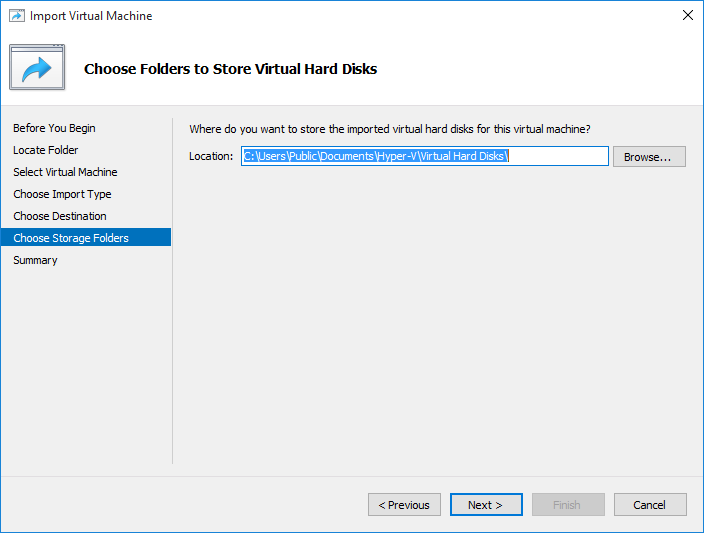 Import Virtual Machine in Hyper-V