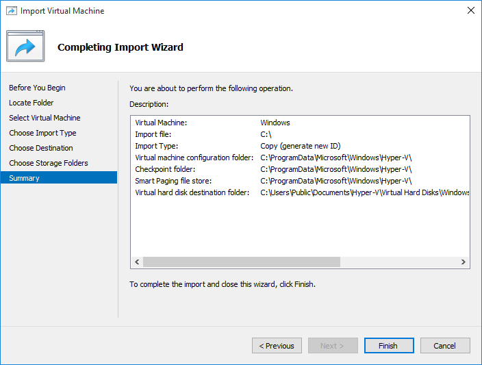 Import Virtual Machine to Clone in Hyper-V
